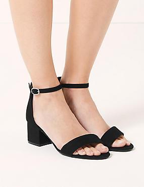 Wide Fit Block Heel Two Part Sandals, BLACK, catlanding