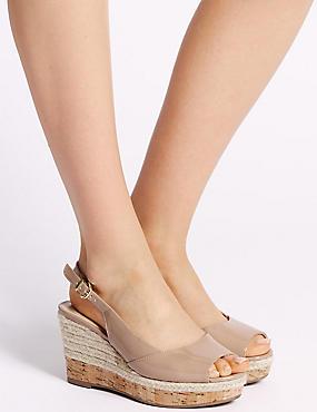 Wide Fit Wedge Heel Peep Toes Sandals, NUDE, catlanding
