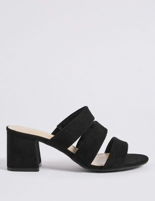 Wide Fit Block Heel Multi Strap Mule Sandals by Marks & Spencer