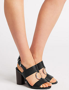 Wide Fit Block Heel Two Band Ring Sandals, BLACK, catlanding