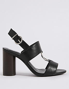 Wide Fit Block Heel Two Band Ring Sandals