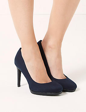 Wide Fit Stiletto Platform Court Shoes, NAVY, catlanding