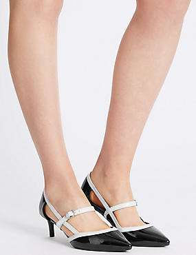 Wide Fit Kitten Heel Strap Court Shoes