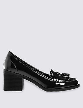 Wide Fit Block Heel Fringe Loafers