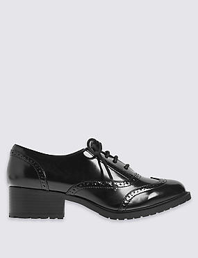 Wide Fit Block Heel Lace-up Brogue Shoes