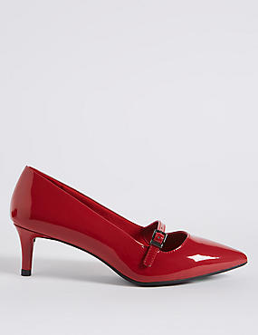 Wide Fit Kitten Heel Bar Court Shoes