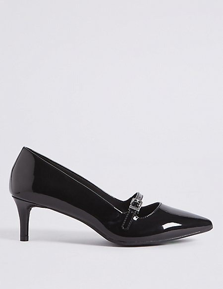 Wide Fit Kitten Heel Bar Court Shoes | M&S Collection | M&S