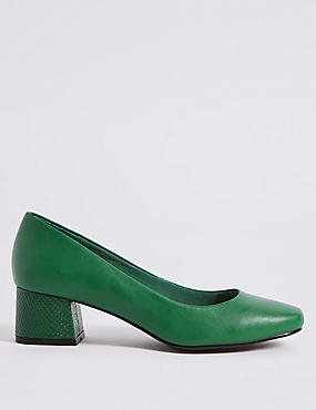 Wide Fit Block Heel Court Shoes