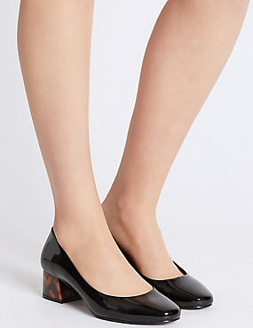 Wide Fit Block Heel Court Shoes, BLACK PATENT, catlanding