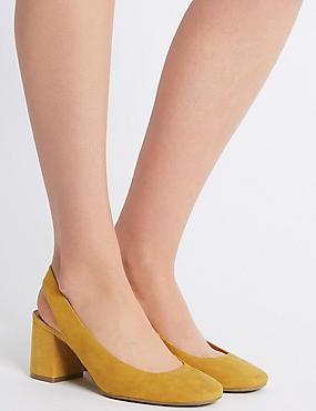 Wide Fit Block Heel Slingback Court Shoes, OCHRE, catlanding