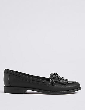 Extra Wide Fit Block Heel Tassel Loafers