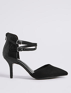 Extra Wide Fit High Heel Strap Court Shoes