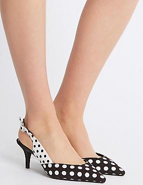 Wide Fit Kitten Heel Slingback Court Shoes, BLACK MIX, catlanding