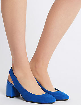 Wide Fit Block Heel Slingback Court Shoes, COBALT, catlanding