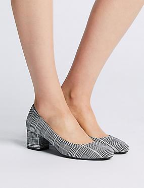 Wide Fit Block Heel Court Shoes, GREY MIX, catlanding