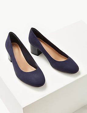 Wide Fit Block Heels Court Shoes, NAVY, catlanding