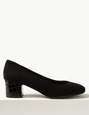 Wide Fit Block Heels Court Shoes, BLACK, catlanding
