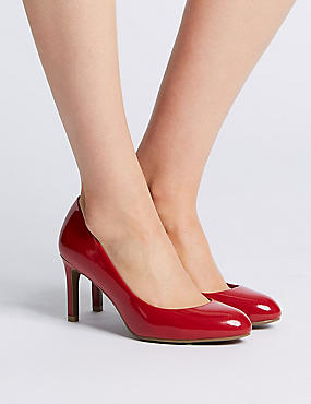 Wide Fit Almond Toe Court Shoes, RED, catlanding