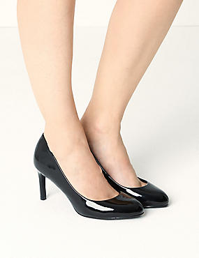 Wide Fit Almond Toe Court Shoes, BLACK PATENT, catlanding