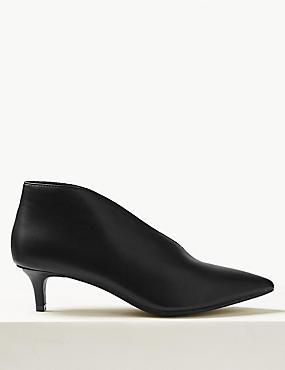 Wide Fit Kitten Heel V-Cut Shoe Boots, BLACK, catlanding