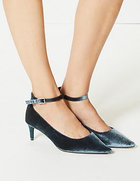 Wide Fit Kitten Heel Ankle Strap Court Shoes, DARK TEAL, catlanding
