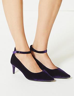 Wide Fit Kitten Heel Ankle Strap Court Shoes, BURGUNDY, catlanding