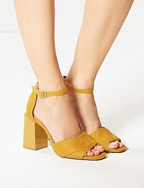 Wide Fit Block Heel Sandals, OCHRE, catlanding