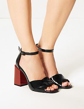 Wide Fit Statement Heel Patent Sandals, BLACK, catlanding