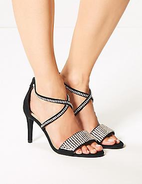 Extra Wide Fit Stiletto Heel Diamanté Sandals, BLACK, catlanding