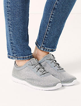 Wide Fit Lace-up Trainers, SILVER, catlanding