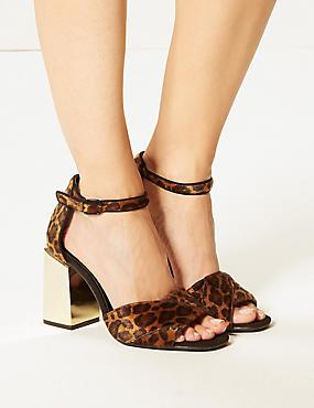 Wide Fit Animal Print Statement Heel Sandals, BROWN MIX, catlanding
