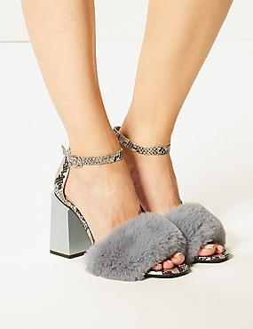 Wide Fit Statement Heel Faux Fur Sandals, GREY MIX, catlanding