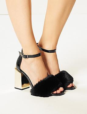 Wide Fit Statement Heel Faux Fur Sandals, BLACK PATENT, catlanding