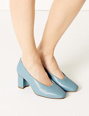 Wide Fit Block Heel Court Shoes, BLUE, catlanding