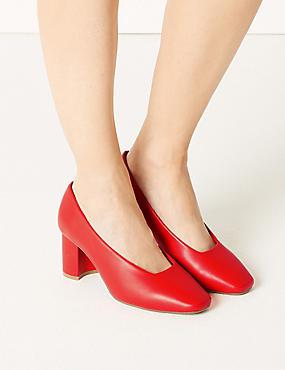 Wide Fit Block Heel Court Shoes, FLAME, catlanding