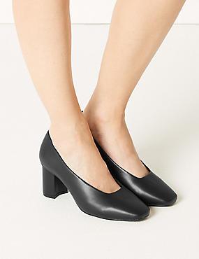 Wide Fit Block Heel Court Shoes, BLACK, catlanding