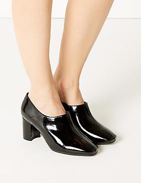 Wide Fit Block Heel Shoe Boots, BLACK PATENT, catlanding