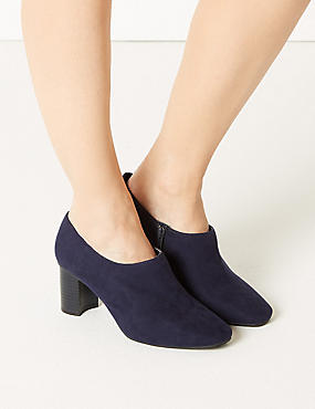 Wide Fit Block Heel Shoe Boots, NAVY MIX, catlanding