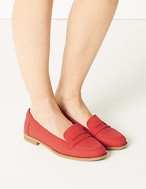 Extra Wide Fit Penny Loafers, RED, catlanding