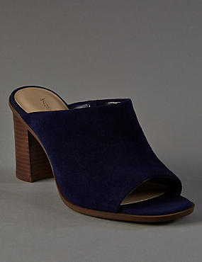 Stain Away™ Suede Block Heel Mule Sandals with Insolia Flex®