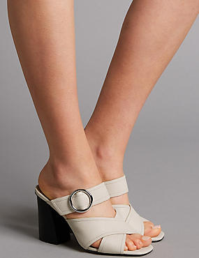 Leather Ring Mule Sandals, WHITE, catlanding