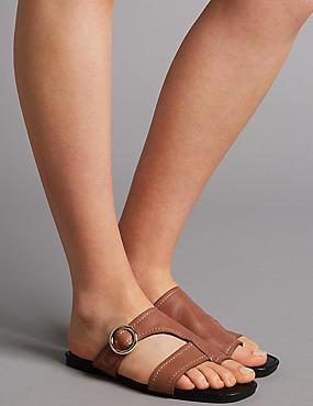 Leather Toe Loop Ring Mule Sandals, TAN, catlanding