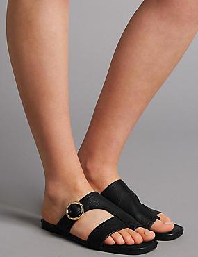 Leather Toe Loop Ring Mule Sandals, BLACK, catlanding