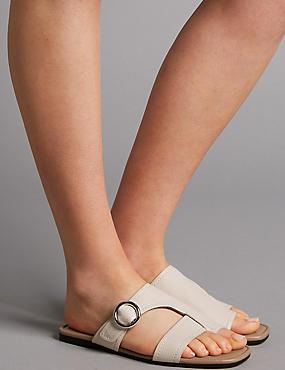 Leather Toe Loop Ring Mule Sandals, WHITE, catlanding