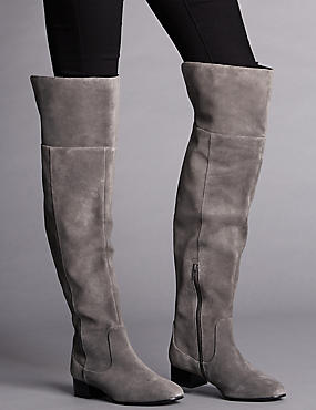 Stain Away™ Suede Block Heel Over The Knee Boots with Insolia Flex®
