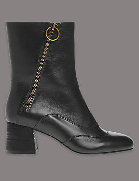 Leather Mid-Calf Boots with Insolia®