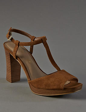 Stain Away™ Suede Platform T-Bar Sandals with Insolia®