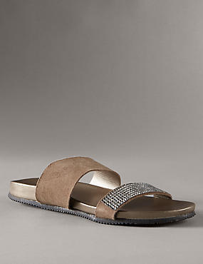 Stain Away™ Suede Jewelled Sandals