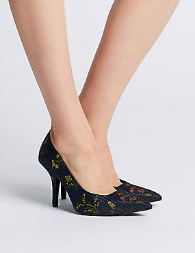 Stiletto Heels Floral Court Shoes, NAVY MIX, catlanding