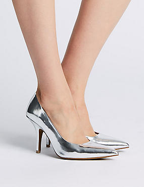 Stiletto Heels Court Shoes, SILVER, catlanding